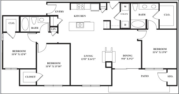 1,442 sq. ft. to 1,470 sq. ft. CLYDESDALE floor plan