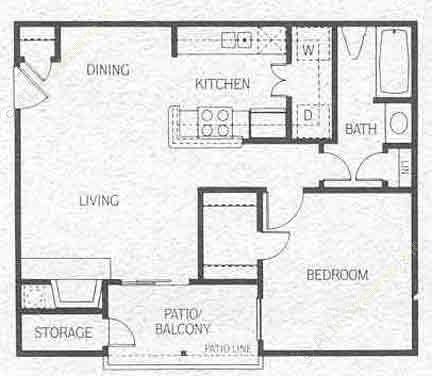 609 sq. ft. A2 floor plan