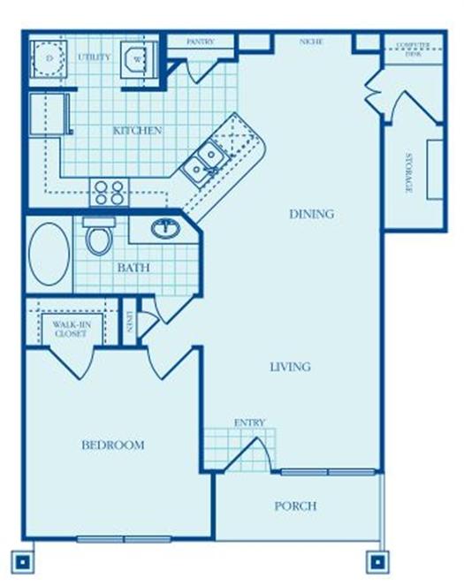 783 sq. ft. Bellevue floor plan