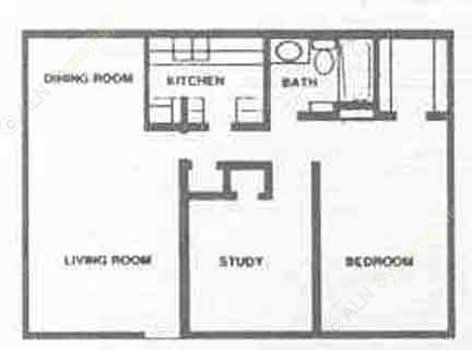 645 sq. ft. B1 floor plan
