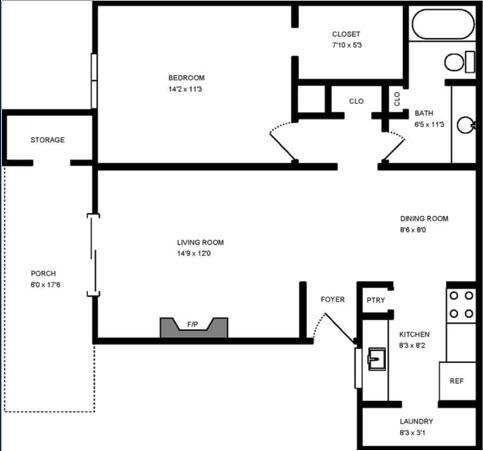750 sq. ft. Willow floor plan