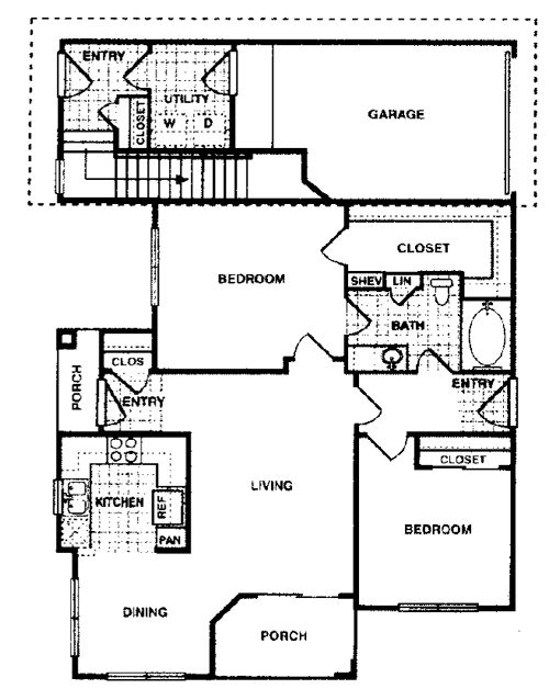 1,143 sq. ft. Hickory D2 floor plan