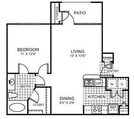 689 sq. ft. Riverwalk floor plan