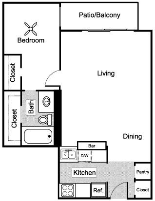 636 sq. ft. A1 floor plan