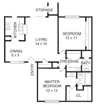 970 sq. ft. B3 floor plan