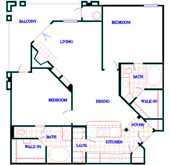 972 sq. ft. A3 floor plan