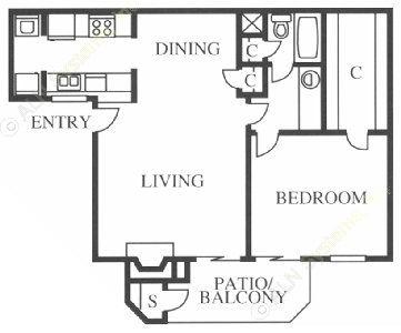 780 sq. ft. Wren floor plan