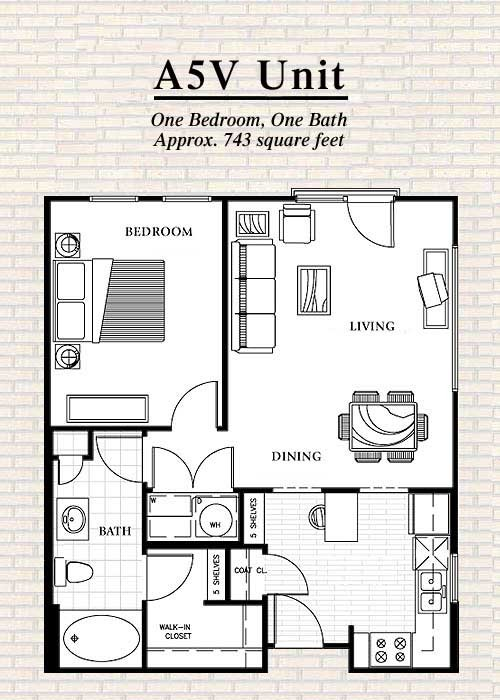 743 sq. ft. to 789 sq. ft. A5 floor plan
