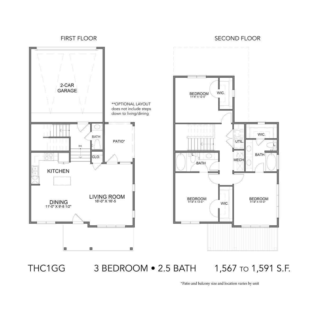 1,567 sq. ft. to 1,591 sq. ft. THC1GG floor plan