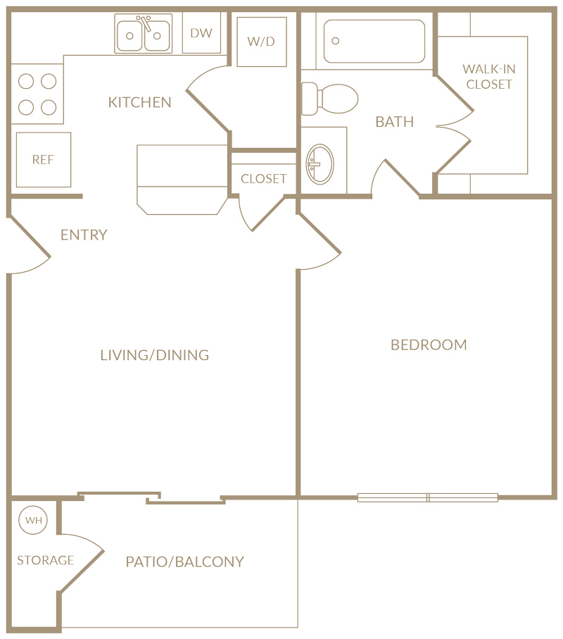 553 sq. ft. to 583 sq. ft. A1 floor plan