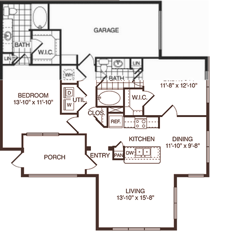 1,153 sq. ft. Garner floor plan