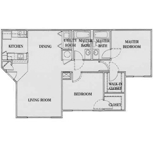 968 sq. ft. 60% floor plan