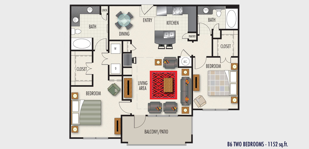 1,152 sq. ft. to 1,256 sq. ft. B6 floor plan