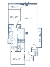 1,195 sq. ft. B3 floor plan
