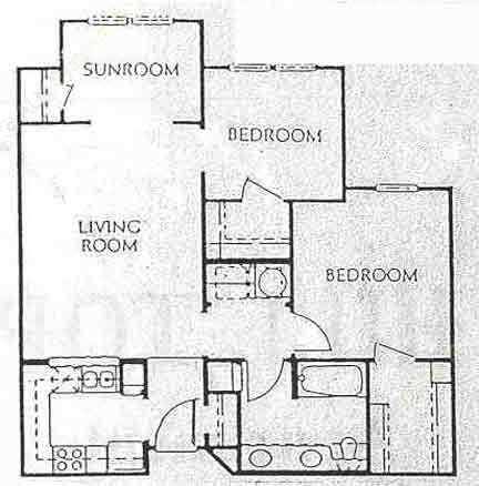 916 sq. ft. A1 floor plan