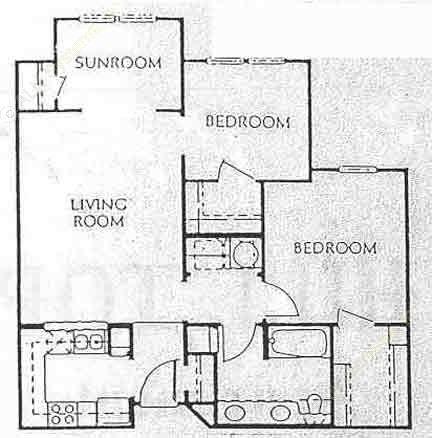 916 sq. ft. A1 floor plan