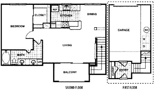 820 sq. ft. Aspen A3 floor plan