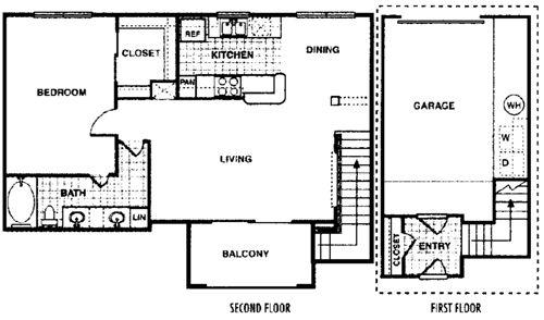 820 sq. ft. Aspen A3 floor plan