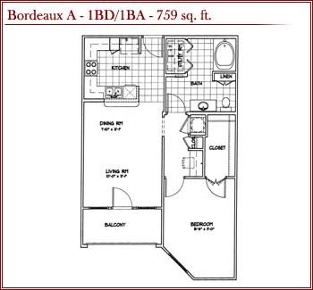 759 sq. ft. BORDEAUX A floor plan