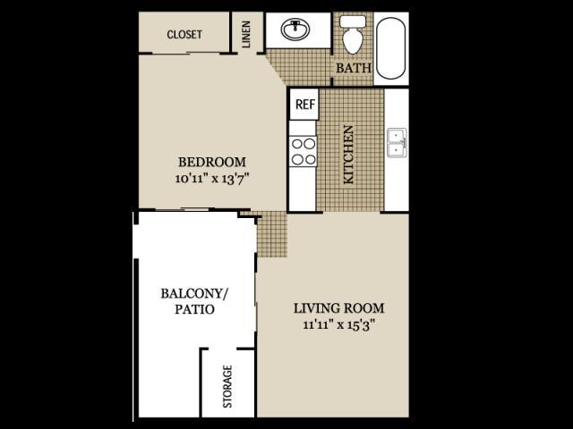 524 sq. ft. A1 floor plan