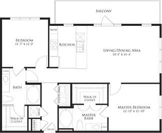 1,130 sq. ft. 6B1 floor plan