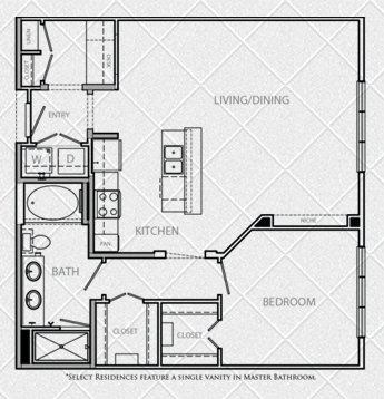 914 sq. ft. to 946 sq. ft. A5A floor plan