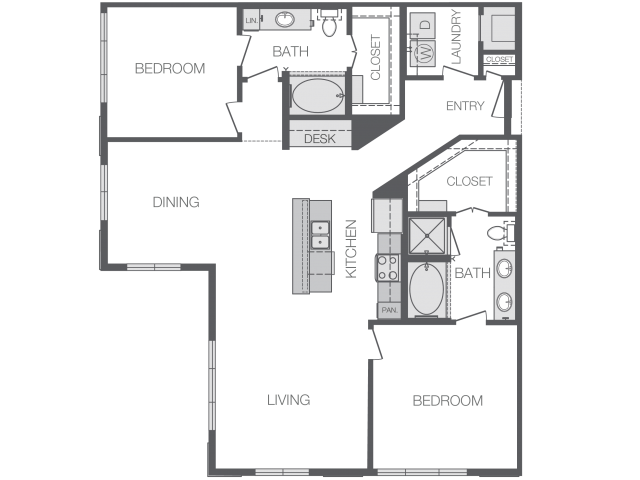 1,396 sq. ft. L floor plan
