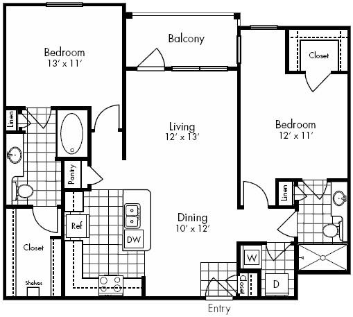 1,128 sq. ft. SAN JACINO floor plan
