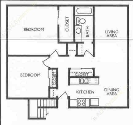 966 sq. ft. Associate floor plan
