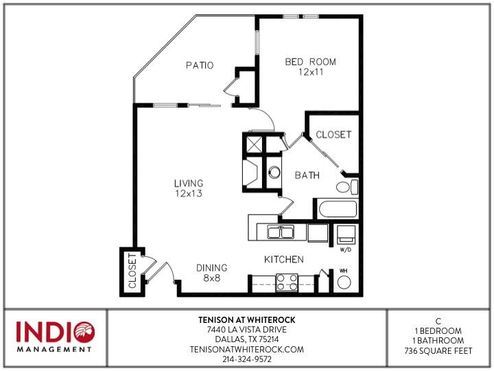736 sq. ft. to 786 sq. ft. C floor plan