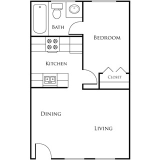 445 sq. ft. EBAN I floor plan