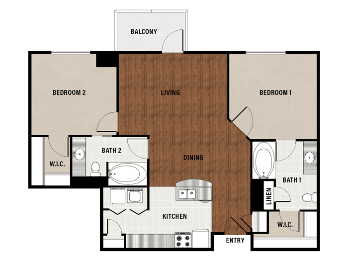 1,109 sq. ft. C3 floor plan