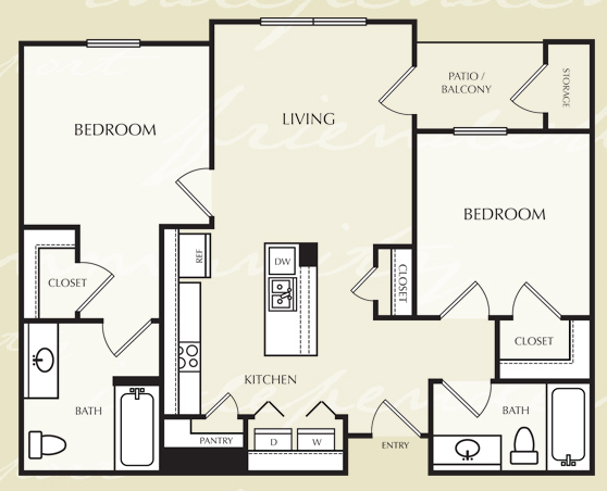 860 sq. ft. B1/50% floor plan