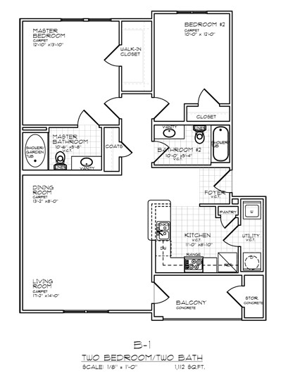 1,112 sq. ft. B1B FLAT 50% floor plan