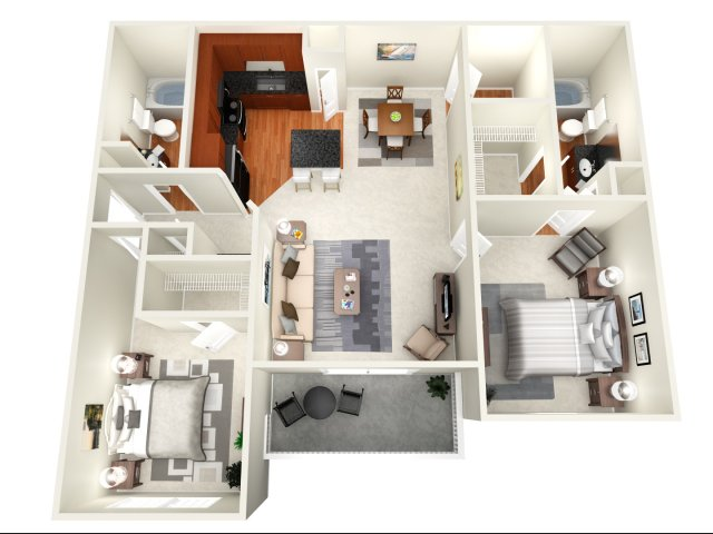 1,117 sq. ft. D floor plan