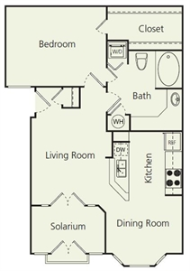 780 sq. ft. As floor plan