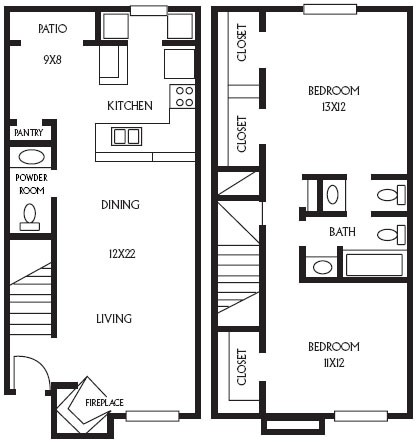 1,085 sq. ft. B12 floor plan
