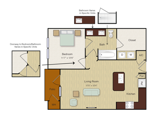 705 sq. ft. A8 floor plan