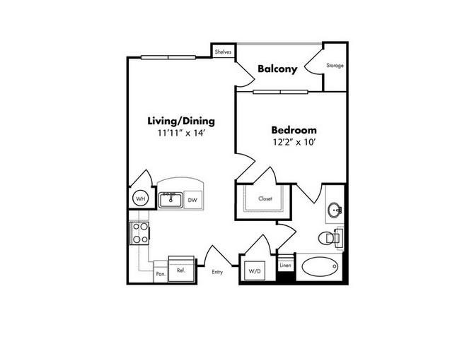 594 sq. ft. Cabo w/Gar floor plan