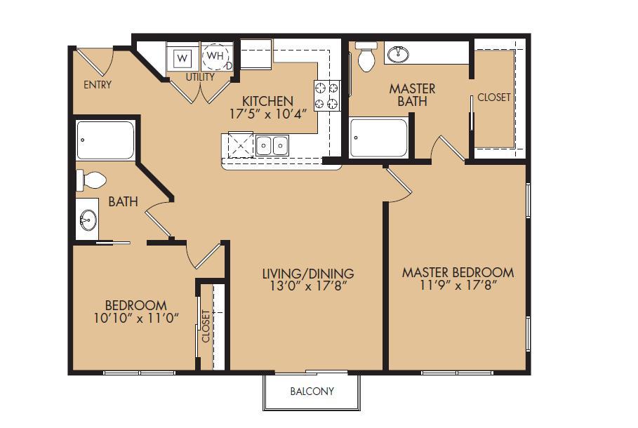 1,059 sq. ft. B2HC-Summit floor plan