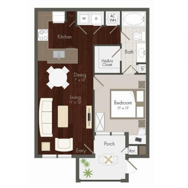 673 sq. ft. Mason floor plan