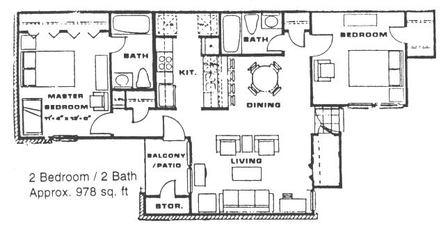 978 sq. ft. B2 floor plan