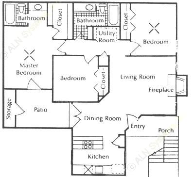 1,197 sq. ft. E floor plan