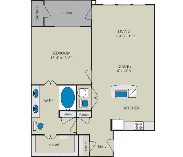 901 sq. ft. Bosque A3 floor plan