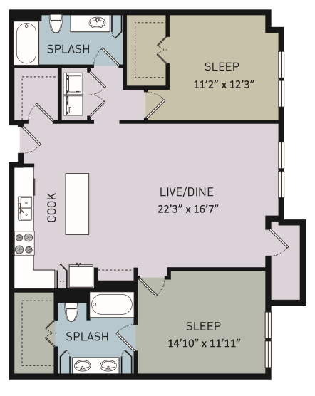 1,271 sq. ft. to 1,278 sq. ft. B3 floor plan