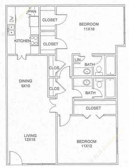 998 sq. ft. B-4-D floor plan