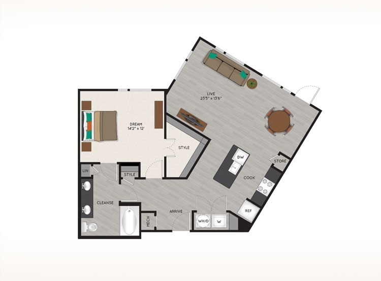 945 sq. ft. A5 floor plan