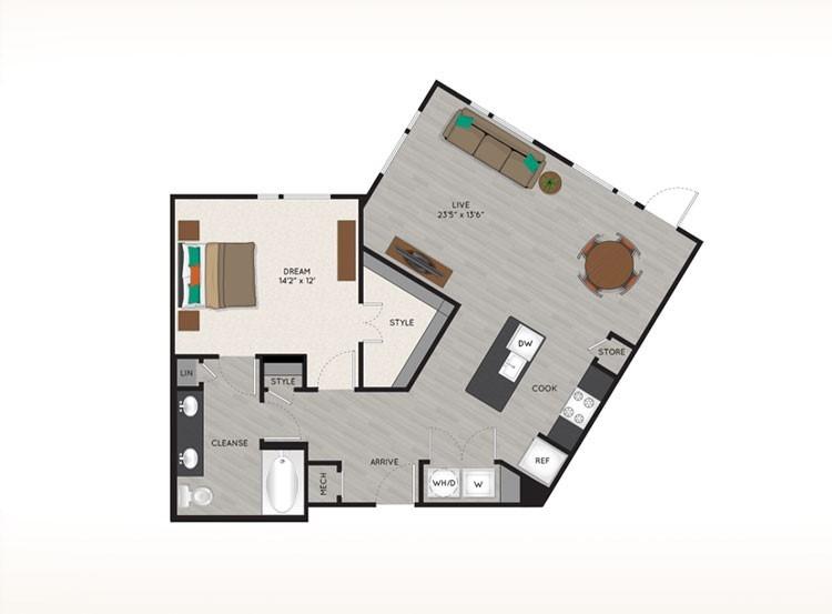945 sq. ft. A5 floor plan
