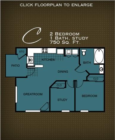 750 sq. ft. PLAN C floor plan