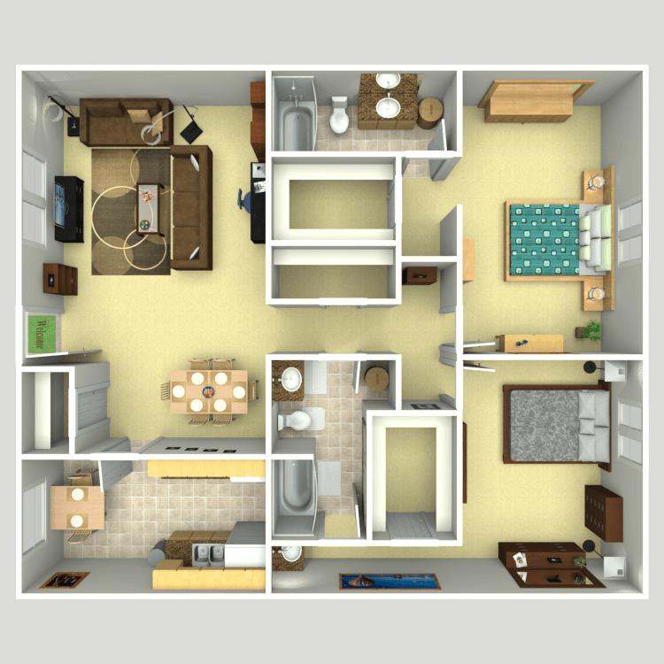 1,268 sq. ft. B2 floor plan